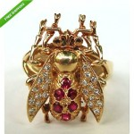 vintage 18k ruby and diamond insect ring