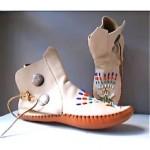 vintage deerskin handbeaded moccasin ankle boots