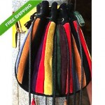 vintage italian suede drawstring purse