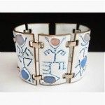 vintage kay denning enamel copper abstract bracelet