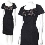 vintage mid-century black silk blend crochet bust dress