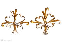 vintage pair gilded tole wall sconces
