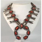 vintage silver and coral squash blossom necklace