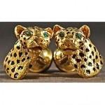 vintage tiffany 18k emerald leopard cufflinks
