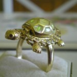 vintage 14k ruby white sapphire turtle ring
