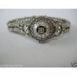 vintage cartier diamond platinum bracelet watch