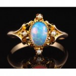vintage opal and seed pearl ring