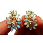 vintage opal diamond earrings