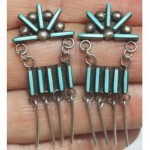 vintage zuni petit point turquoise silver earrings
