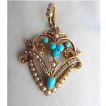 antique 1890s victorian turquoise seed pearl pendant