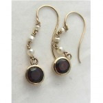 antique victorian garnet and pearl earrings