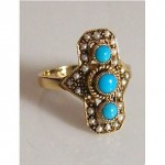 vintage turquoise pearl ring
