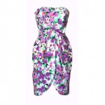 vintage victor costa strapless floral dress