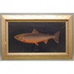 antique sid bickford oil painting of brook trout