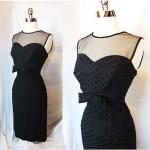 vintage 1950s eyelet little black dress