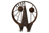 vintage 1960s abstract iron owl sculpture