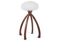 vintage 1970s walnut glass table lamp