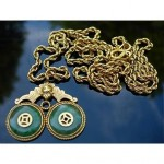 vintage chinese 24k jade pendant necklace