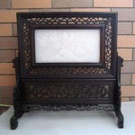 vintage chinese inlaid jade table screen