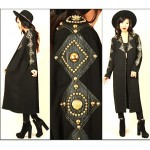 vintage duster with gold studded leather trim