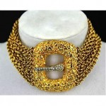 vintage kenneth jay lane buckle choker necklace