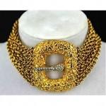 vintage kenneth jay lane buckle choker necklace
