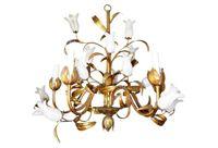 vintage midcentury italian gilt alabaster tulip chandelier