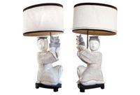 vintage pair 1960s modernist asian lamps