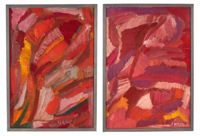 vintage pair russian abstract expressionist paintings