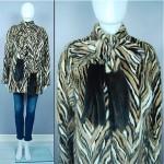 vintage stripe mink scarf coat