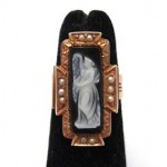antique 1870s carved agate cameo ring