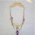 antique art nouveau krementz amethyst seed pearl festoon necklace