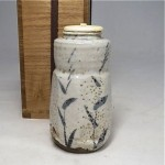 antique japanese shino pottery tea caddy