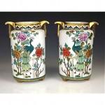 antique pair noritake porcelain peacock vases