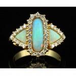 vintage 18k australian opal diamond ring