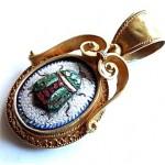 vintage 18k micro mosaic scarab bettle pendant