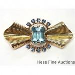 vintage 1940s tiffany 14k aquamarine sapphire brooch