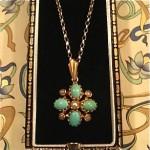 vintage 1950s 14k cabochon necklace