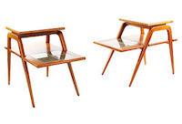 vintage 1970s sweden teak step tables with inlaid tiles
