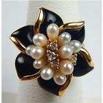 vintage black coral fresh water pearl diamond 14k ring