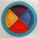 vintage homer laughlin harlequin fiesta ware divided relish tray