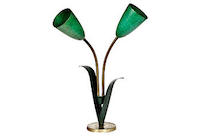 vintage leaf and lily table lamp