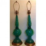 vintage pair murano glass lamps