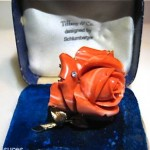 vintage schlumberger for tiffany coral diamond brooch