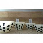 vintage set fire king polka dot bowls