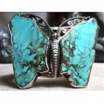 vintage sterling turquoise butterfly cuff bracelet