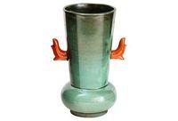 vintage upsala ekeby coral handle pottery vase