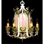 vintage wrought iron and slag glass chandelier