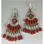vintage zuni coral chandelier earrings