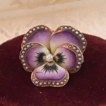 antique mint 14k pansy brooch